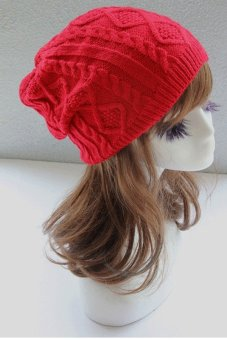 Cyber Winter Warm Wool Beanie Cap Women Baggy Crochet Knit Skull Ski Hat ( Red )