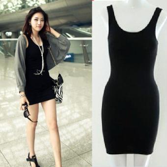 Cyber Women Summer Sexy Bodycon Sleeveless Casual Vest Mini Dress (Black) - 3