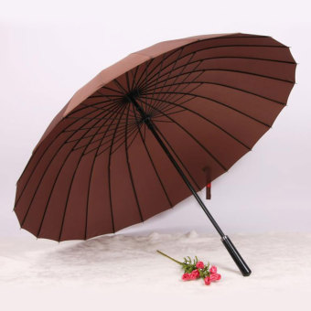 Double large wind bone Straight Shank umbrella (24 bone coffee) (24 bone coffee)