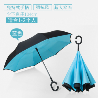 Dual skillet large people umbrella rain or shine umbrella (Take hands-free-reverse umbrella-blue)