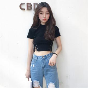 Effort Korean-style female New style straps T-shirt short-sleeved Top (Black)
