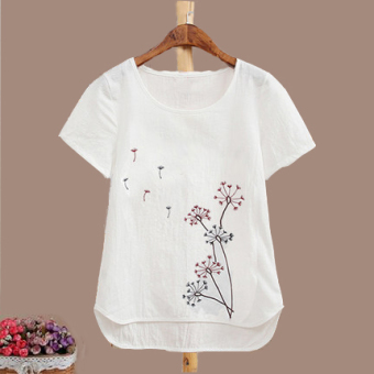 Embroidered white female Plus-sized base shirt T-shirt (Dandelion)