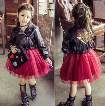 European and American children's clothing 2017 Spring and Autumn New style girls leather dress net yarn stitching Tutu dress long-sleeved princess dress