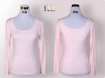 European and American long-sleeved front and back round neck short sleeved Top T-shirt (Pink) (Pink)