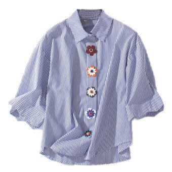 European and American style spring and summer New style shirt flower buttons