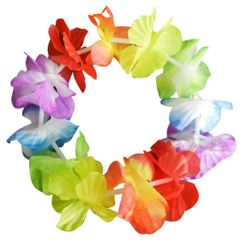 Fang Fang Hawaiian Set Hula Flower Garland Lei Set Iuau Hula Party Fancy Dress Grass Skirt (Mixed Color)