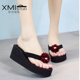 Fashion female outerwear sandals slippers (7254W black color flip-flops red Chrysanthemum)
