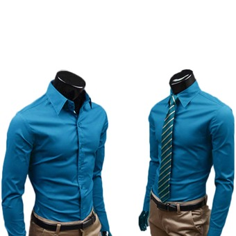 Fashion Men's Long sleeve Shirt Business Anti-Wrinkle Shirts Athensblue - Intl