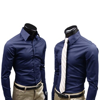 Fashion Men's Long sleeve Shirt Business Anti-Wrinkle Shirts NavyBlue - Intl