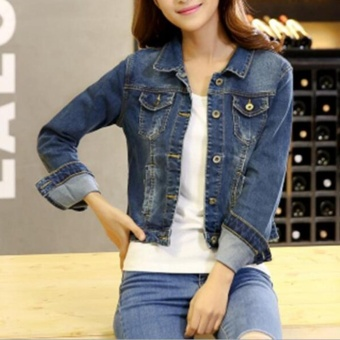 Harga Fashion Women Denim Western Cropped Jean Jacket - intl