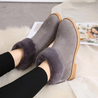 Fashion Women Winter Boots Snow Plush Ankle Boots Zips Warm Shoes Boots - intl