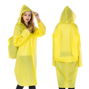 Fashion Women&Men EVA Transparent Raincoat Poncho Portable Environmental Light Raincoat Long Use Rain Coat Hogard - intl