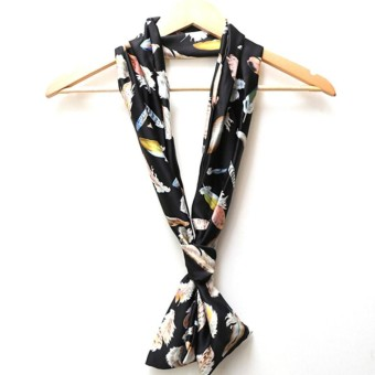 Feather chiffon double layer silk scarf ladies scarf long scarf short scarf - intl