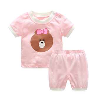 Female baby summer short sleeved shorts (Pink Bear suit)