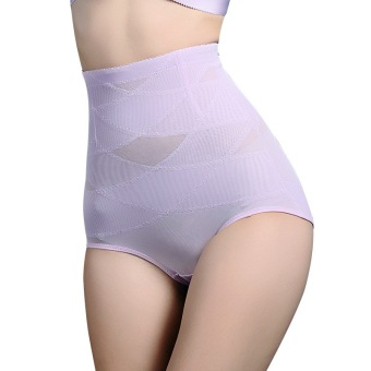 Female flat buttock lifting postpartum abdomen pants high-waisted body sculpting pants (Light purple color)