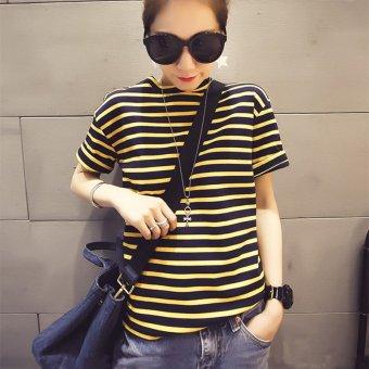 Female loose New style striped Korean fan summer tide short-sleeved t-shirt (Yellow)