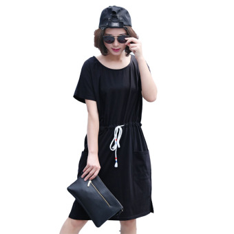 Female New style Loose and plus-sized Slimming effect round neck short-sleeved dress (Black)