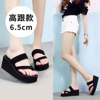 Female New style outerwear casual sandals slippers (7228W high-heeled foot covering slippers black)