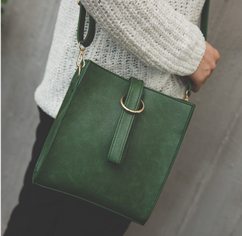 Female New style tide student Harajuku style Hong Kong style messenger bag (Green) (Green)