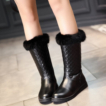 Female New style warm thick velvet fur boots flat heel winter boots (Black)
