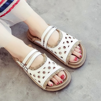 Female pointed outdoor wear slipper shoes sandals (White 710129)