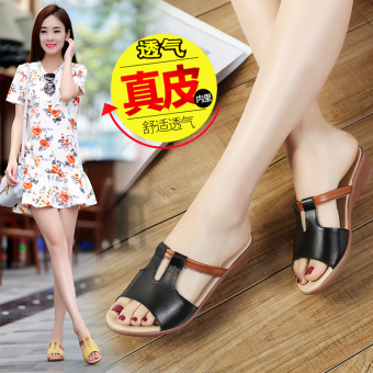 Female sandals slippers (Black)