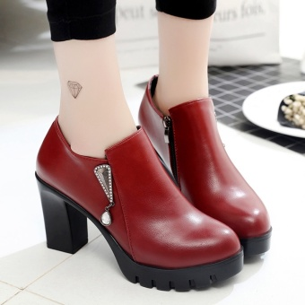 Female thick bottomed versatile shoes New style high-heeled shoes (Wine red)