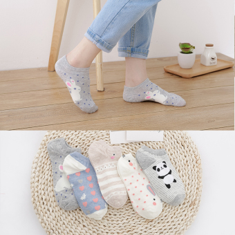 Female thin spring and autumn short socks no-show socks ([5 pairs installed short socks] Korean story C)