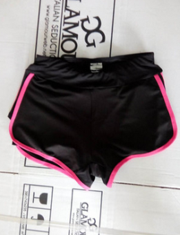 Female trousers fake two-piece stretch sports marathon fitnesspants (Rose shorts fake two) (Rose shorts fake two)