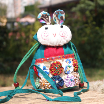 Female Yunnan handmade small rabbit cloth mobile phone bag messenger bag (Peacock blue small rabbit) (Peacock blue small rabbit)