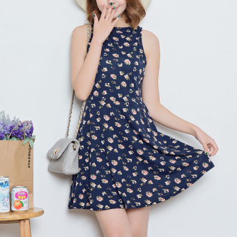 Fresh cotton spring and summer bottoming Slimming effect vest dress