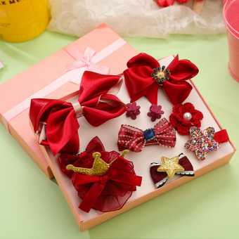 Girls children's clip baby floral headdress hairclip (Wine red color)