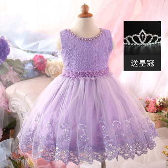 Girls New style princess dress children's dress (Purple) (Purple)