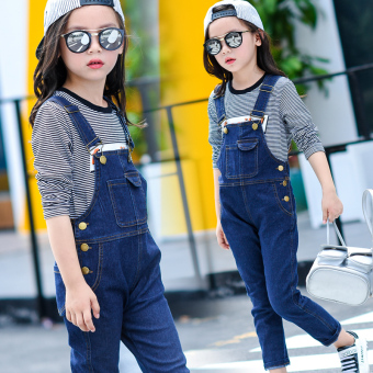 Girls overalls denim trousers children's spring models denim pants high waist students 1-3-4-5-7-9-11 years old