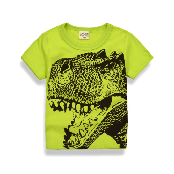 Harga Girls Short sleeve cotton casual children's clothing T-shirtbottoming shirt (9567 fluorescent green-Bolon head) (9567fluorescent green-Bolon head)