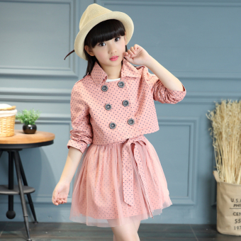 Girls Spring and Autumn models New style Korean-style long-sleeved dress (Pink color)