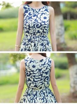 Grandwish Women Bohemian Dress Sleeveless Flower Pattern Printing (Blue) - 4