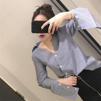 Han Fan temperament v-neck short paragraph striped long-sleeved shirt spring