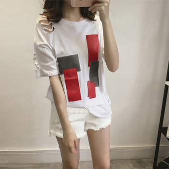 Han Feng chic short-sleeved t-shirt female loose 00 after Cool ulzzang not rules hole hollow embroidery Top (461 * hole white)