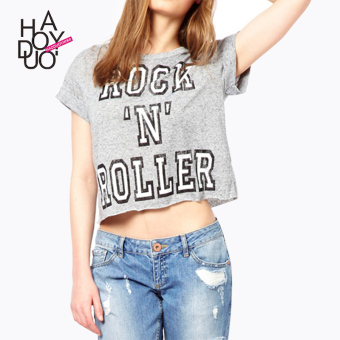 Haoduoyi2016 fashion New style lettered printed T-shirt