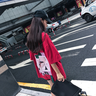 Harajuku female New style Print Short sleeve dress T-shirt (DY 062 red)