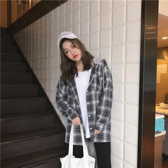 Harajuku Korean-style wind loose hooded thin coat (Black plaid)