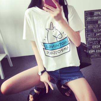 Harajuku loose Short sleeve Slimming effect clothes