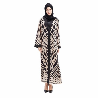 Hequ Islamic Clothing Women Muslim Stripe Long Sleeve Outwear Cardigan Arabic Abaya Kaftan Robe Black - intl