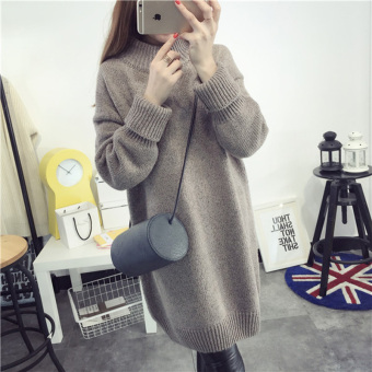 Highneck Winter sweater female loose long thick knit dress (Rose)