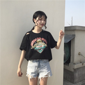 Hole t-shirt female short-sleeved Korean fan wild loose white longsection Cool cotton Hong Kong flavor retro chic Top (White)