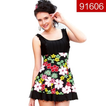 Hot spring fashion female skirt Slim fit swimming clothing one-piece swimsuit (91606 Flowers (one-piece))
