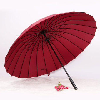 Huge Wind-Proof 24-Bone Straight Colorful Outdoor Umbrella (24 bone wine red)