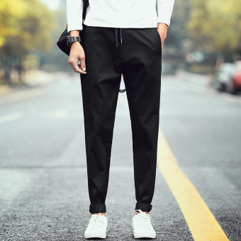 I Korean-style men elastic students harem pants ankle-length pants (Black)