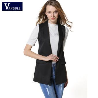 Harga 2017 Decoration Vests Female Sleeveless Waistcoat office lady pocket coat Women Fashion Wardrobe waistcoat Slim cotton vest(BLACK) - intl